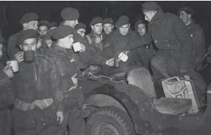 British Paratroops drinking tea in World War Two