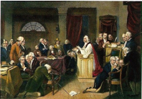 The Intolerable Acts of 1774, following the Boston Tea Party