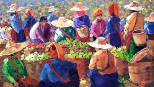 Painting of tea pickers and tea in sacks